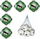 5x Puma evoPOWER Vigor 2.3 Match Fussball 5er Ballpaket inkl. Ballnetz Puma White-Green Gecko-Puma Black | 5
