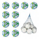 10x Erima Hybrid Lite 290 Fußball 10er Ballpaket Gr. 4 290g inkl. Ballnetz weiß | grün | 4 S-Light
