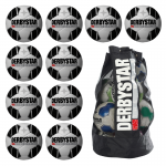10x Derbystar Atmos TT Fußball 10er Ballpaket + Ballsack weiß-schwarz | 5