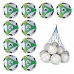 10x Erima Hybrid Lite 350 Fußball 10er Ballpaket Gr. 5 350g inkl. Ballnetz weiß   gelb   5