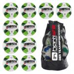 10x Derbystar X-treme Pro TT Fußball 10er Ballpaket + Ballsack weiß-grün-gelb | 5