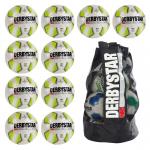 10x Derbystar Kohinoor TT Fußball 10er Ballpaket + Ballsack WEISS/GRÜN | 5