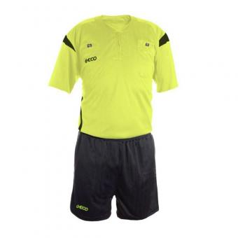 GECO Sportswear Schiedsrichterset Mistral kurzarm Referee Set Trikot Hose neongelb-anthrazit   S