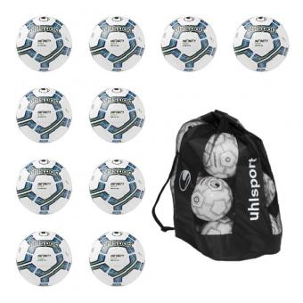 10x Uhlsport Infinity Motion 2.0 Fußball 10er Ballpaket inkl. Ballsack weiß-blau-schwarz | 5