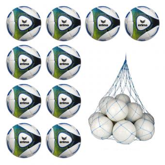 10x Erima Hybrid Training Fussball 10er Ballpaket inkl. Ballnetz royal/lime | 5