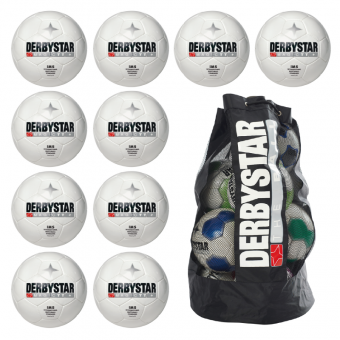 10x Derbystar Magic TT Fußball 10er Ballpaket + Ballsack weiß | 5