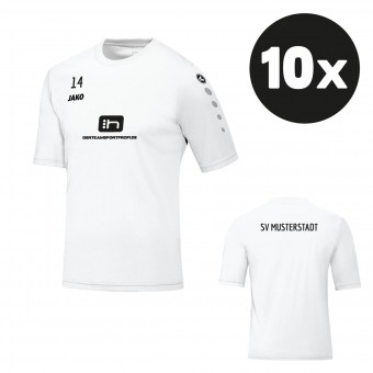 JAKO Trikot Team Kurzarm Teampaket mit Textildruck weiß | 104 - 3XL