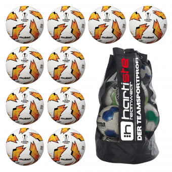 10x Molten F5U1000-G18 Fußball Replika Europa League 18/19 Fussball 10er Ballpaket inkl. Ballsack weiß-orange-schwarz | 5