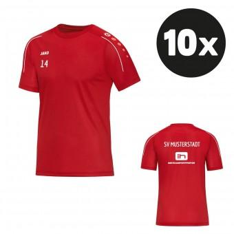 JAKO T-Shirt Classico Trainingsshirt (10 Stück) Teampaket mit Textildruck rot | 116 - 4XL