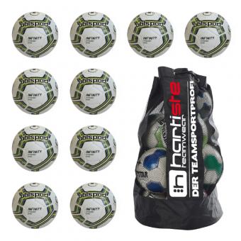 10x Uhlsport Infinity Synergy Nitro 2.0 Fußball 10er Ballpaket inkl. Ballsack weiß-petrol-fluo lime | 3