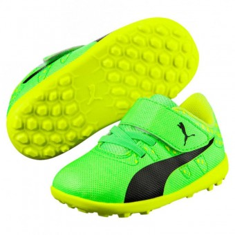 Puma evoPOWER Vigor 4 TT V Inf Fußballschuhe Baby Kinder Green Gecko-Puma Black-Safety Yellow | 19
