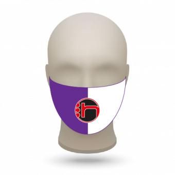 Mund- und Nasenmasken mit Vereinslogo lila-weiß | 500 Stk