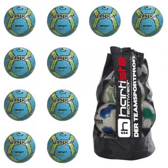 10x Uhlsport Infinity 350 Lite 2.0 Fußball 10er Ballpaket inkl. Ballsack eisblau-fluo gelb-schwarz | 4