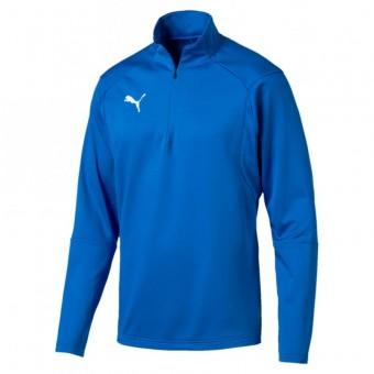PUMA LIGA Training 1/4 Zip Top Pullover Zip Sweater Electric Blue Lemonade-Puma White | 3XL