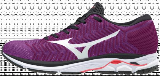 Mizuno Wave Rider 21 WaveKnit R1 Laufschuhe Running Damen Hyacinth Violet-White-Fiery Coral | 38