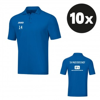 JAKO Polo Base Poloshirt Teampaket mit Textildruck royal   140 - 4XL