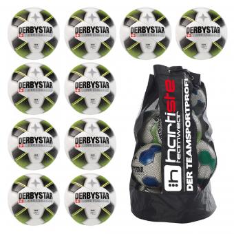 Derbystar 10x Brillant TT Future HS 10er Ballpaket + Ballsack weiß-schwarz-gelb | 5