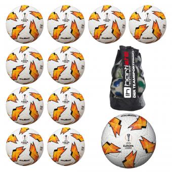 10x Molten F5U3400-G18 Fußball Replika + 1x F5U5003-G18 Wettspielball Europa League 18/19 Fussball 11er Ballpaket inkl. Ballsack weiß-orange-schwarz   5