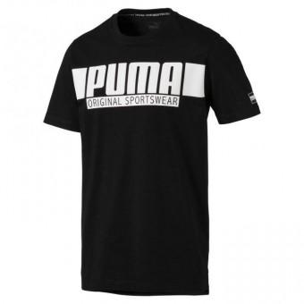 Puma Style Athletics Graphic Tee T-Shirt Cotton Black | M