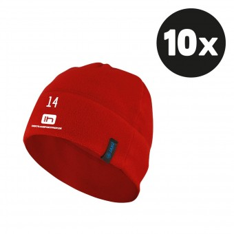 JAKO Fleecemütze Beanie (10 Stück) Teampaket mit Textildruck rot | Junior & Senior