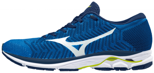 Mizuno Wave Rider 21 WaveKnit R1 Laufschuhe Running Herren Brilliant Blue-White-Safety Yellow | 44