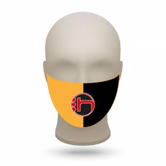 Mund- und Nasenmasken mit Vereinslogo orange-schwarz   500 Stk