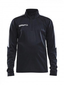 CRAFT PROGRESS HALFZIP LS TEE JR ZIP SWEATER PULLOVER KINDER black-white | 122/128
