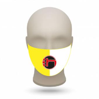 Mund- und Nasenmasken mit Vereinslogo gelb-weiß | 50 Stk