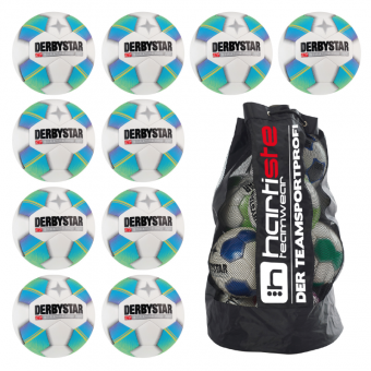 10x Derbystar Stratos Pro Light 10er Ballpaket + Ballsack weiß-blau-gelb | 4