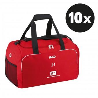 JAKO Sporttasche Classico Teampaket mit Textildruck rot   35 x 21 x 28 cm (LxBxH)