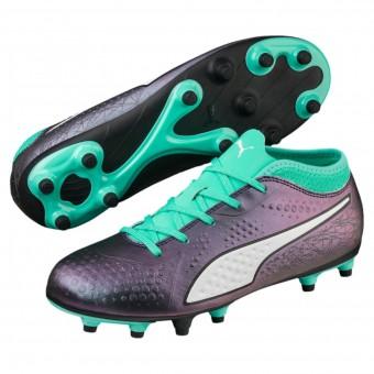 Puma Puma One 4 IL Syn FG Jr Fußballschuhe FG Kinder grün-weiß-schwarz | 28