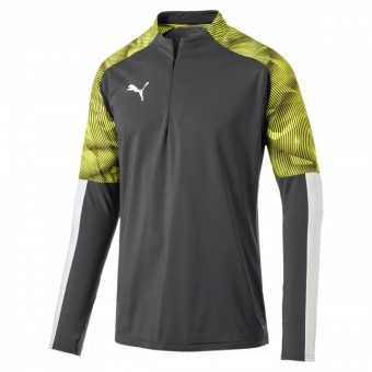 Puma Cup Training 1/4 Zip Top Pullover Zip Sweater Asphalt-Fizzy Yellow | M