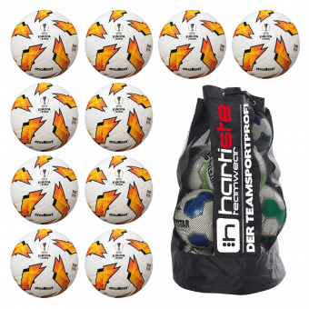 10x Molten F5U3400-G18 Fußball Replika Europa League 18/19 Fussball 10er Ballpaket inkl. Ballsack weiß-orange-schwarz | 5
