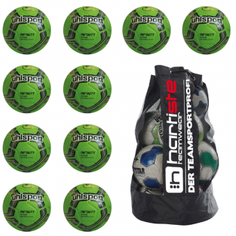 10x Uhlsport Infinity 290 Ultra Lite 2.0 Fußball 10er Ballpaket inkl. Ballsack fluo grün-marine-schwarz | 3