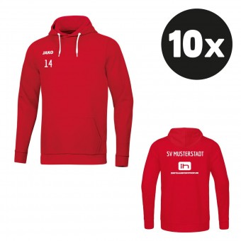 JAKO Kapuzensweat Base Hoody (10 Stück) Teampaket mit Textildruck rot   128 - 4XL