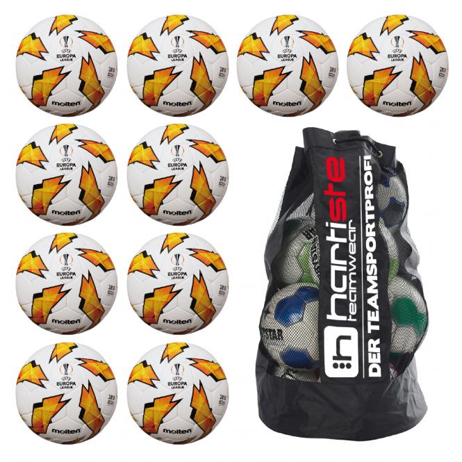 10x Molten F5U2810-G18 Fußball Replika Europa League 18/19 Fussball 10er Ballpaket inkl. Ballsack weiß-orange-schwarz