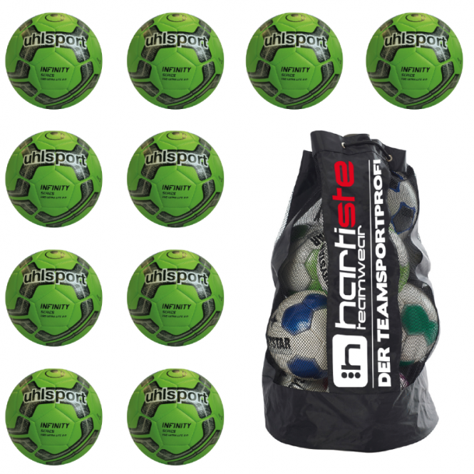 10x Uhlsport Infinity 290 Ultra Lite 2.0 Fußball 10er Ballpaket inkl. Ballsack