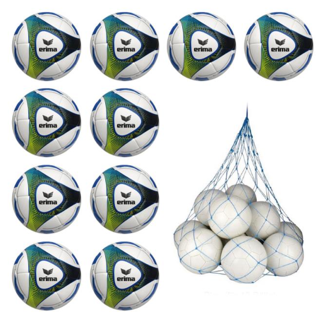 10x Erima Hybrid Training Fussball 10er Ballpaket inkl. Ballnetz blau | gelb | 5