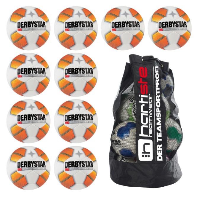 10x Derbystar Stratos Pro TT Fußball 10er Ballpaket + Ballsack weiß-orange   5