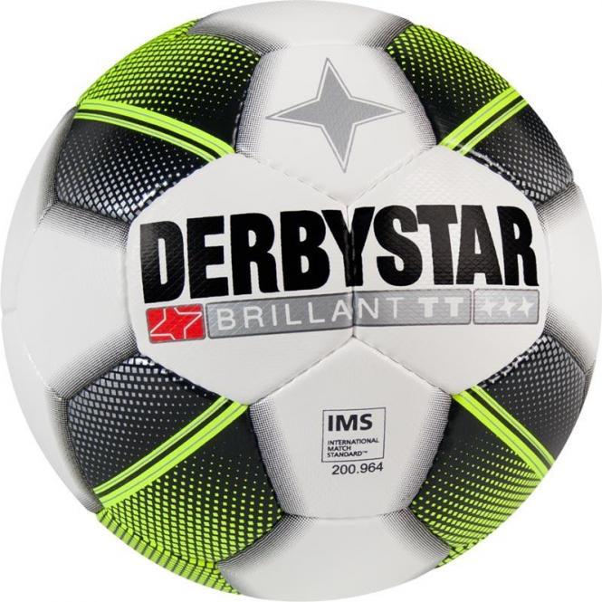 Derbystar Brillant TT Fußball Trainingsball Handgenäht weiß-schwarz-gelb | 5