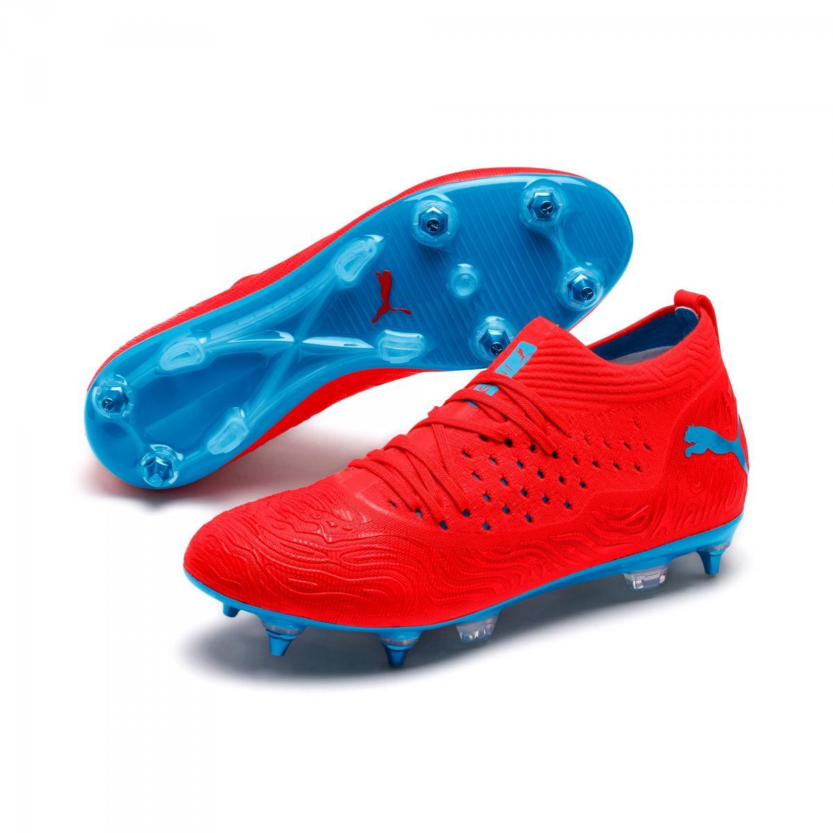 PUMA Future 19.2 Netfit Mx SG Fußballschuhe MXSG Red Blast Bleu Azur | 42