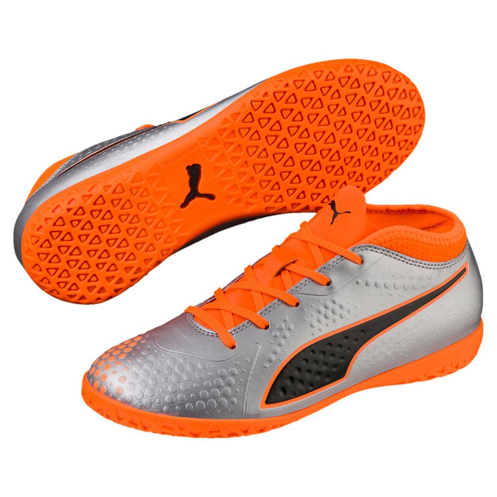Puma One 4 Syn It Jr Fussballschuhe Indoor Kinder Puma Silver Shocking Orange Puma Black 28